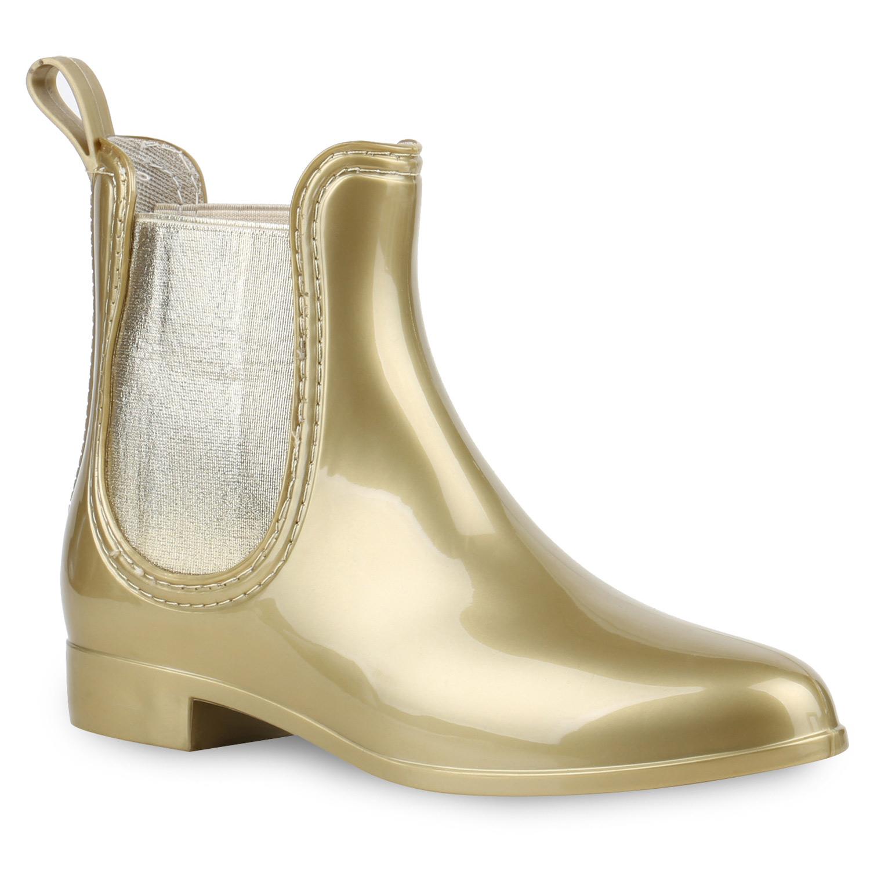 Damen Stiefeletten Gummistiefeletten - Gold