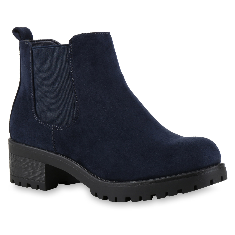 Damen Stiefeletten Chelsea Boots - Dunkelblau