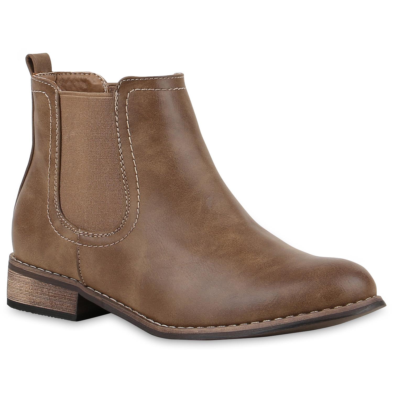 Stiefel für Frauen - Damen Stiefeletten Chelsea Boots Khaki › stiefelpardies.de  - Onlineshop Stiefelparadies