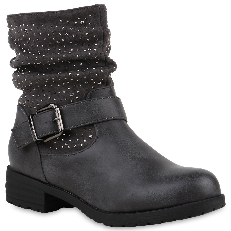 Stiefel - Damen Stiefeletten Biker Boots Grau › stiefelparadies.de  - Onlineshop Stiefelparadies