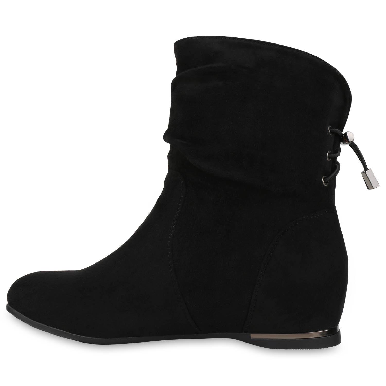 Modische Damen Keilstiefeletten Metallic Stiefeletten Wedges 811897 Schuhe
