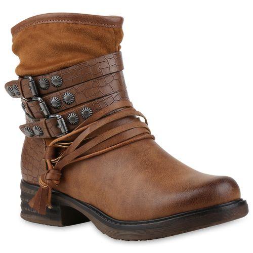 Damen Stiefeletten Biker Boots - Braun