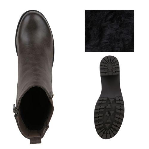 Boots Damen Stiefeletten Stiefeletten Damen Plateau Grau wHWIqaHr