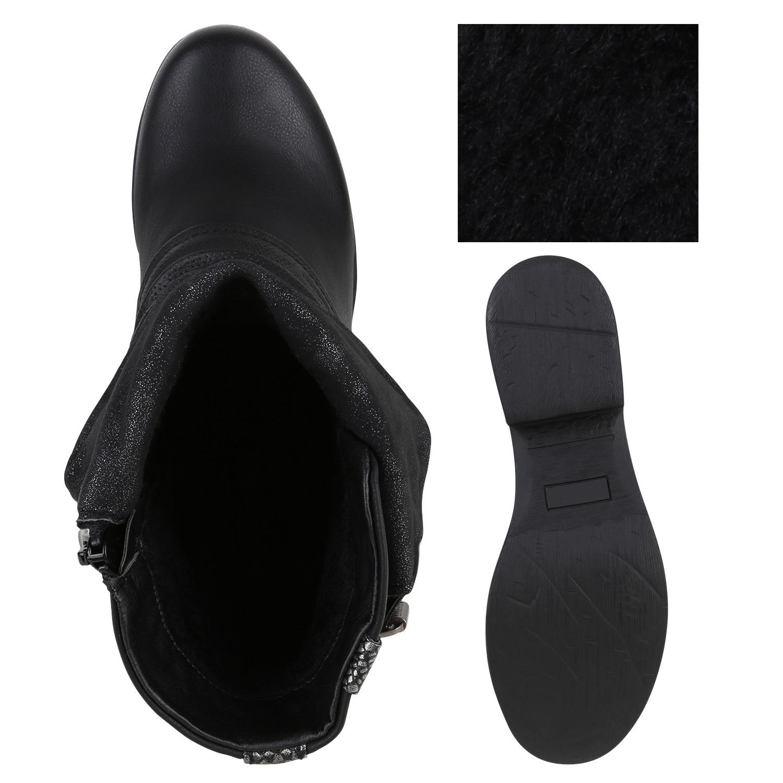 Damen Biker Boots Nieten Schnallen Stiefeletten Rockig 811990 Schuhe
