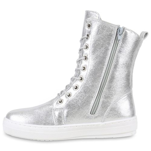 Damen Sneakerstiefel - Silber