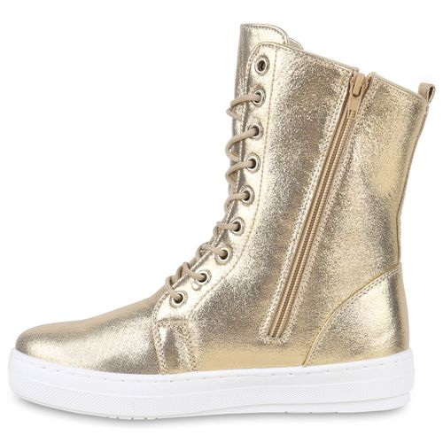Damen Sneakerstiefel - Gold
