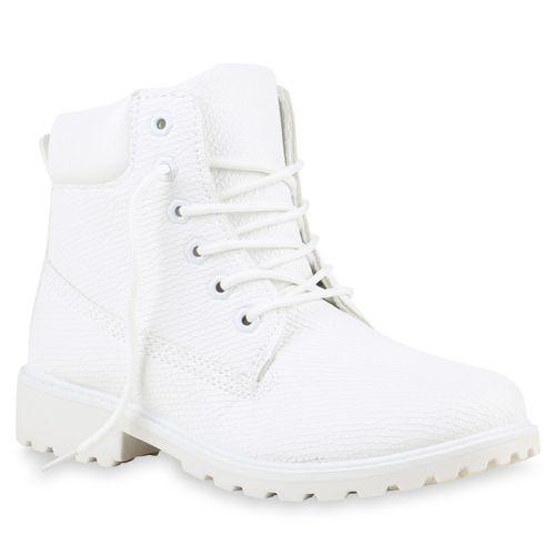Worker Stiefeletten Stiefeletten Damen Boots Worker Weiß Damen 45LRq3jA