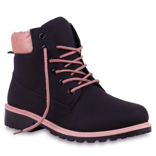 Damen Stiefeletten Worker Boots - Schwarz Rosa