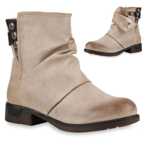 Damen Stiefeletten Biker Boots - Creme