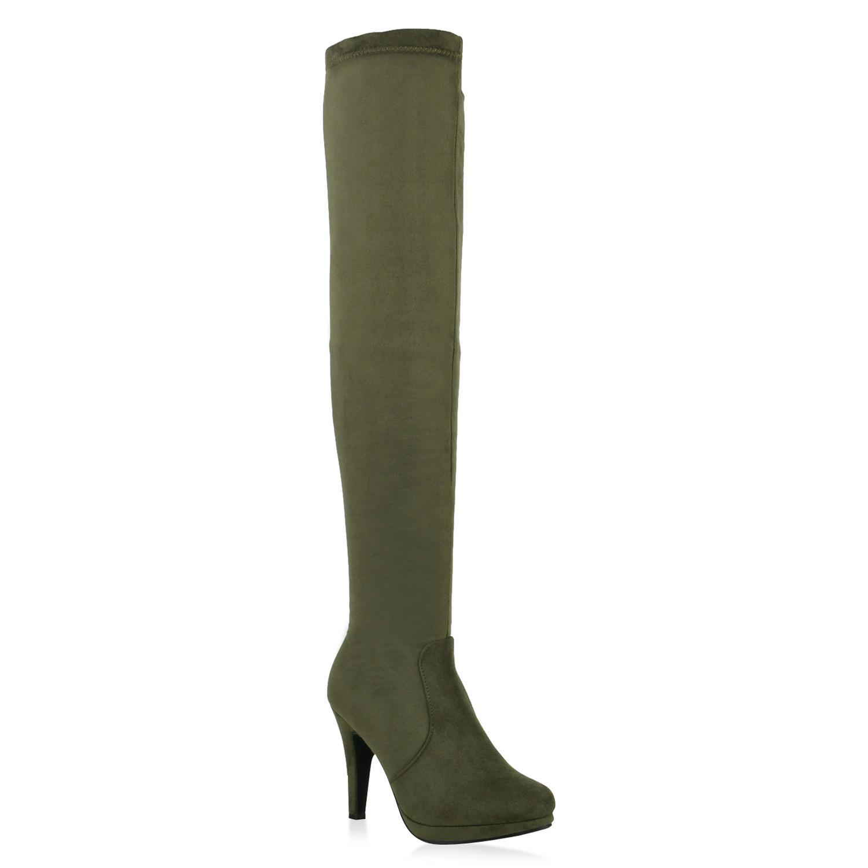 Damen Stiefel Overknees - Grün