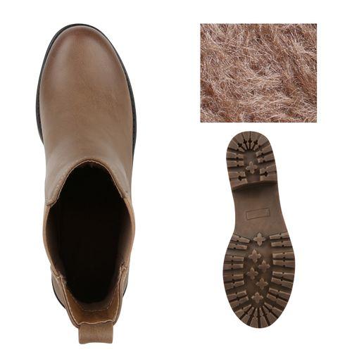 Damen Stiefeletten Chelsea Boots - Khaki