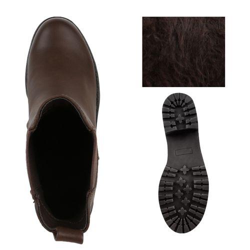 Damen Stiefeletten Chelsea Boots - Dunkelbraun