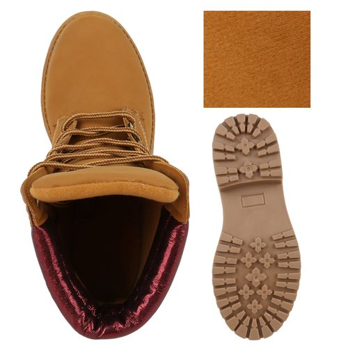 Damen Stiefeletten Worker Boots - Hellbraun Rot