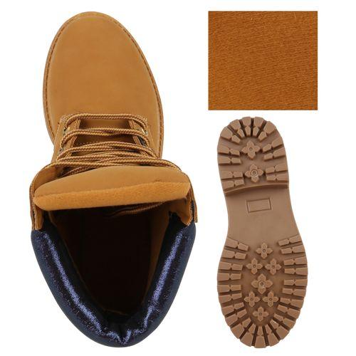 Damen Stiefeletten Worker Boots - Hellbraun Blau