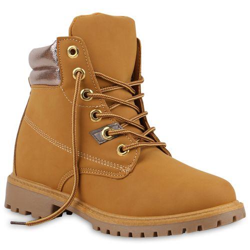 Damen Stiefeletten Worker Boots - Hellbraun Gold