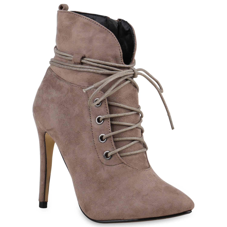 Damen Stiefeletten High Heels - Stone