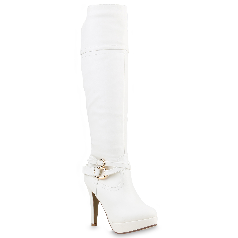 Damen Stiefel High Heels - Weiß