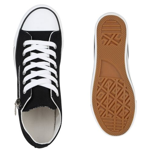 Damen Damen Sneaker Wedges Sneaker Schwarz 8Bx7qn