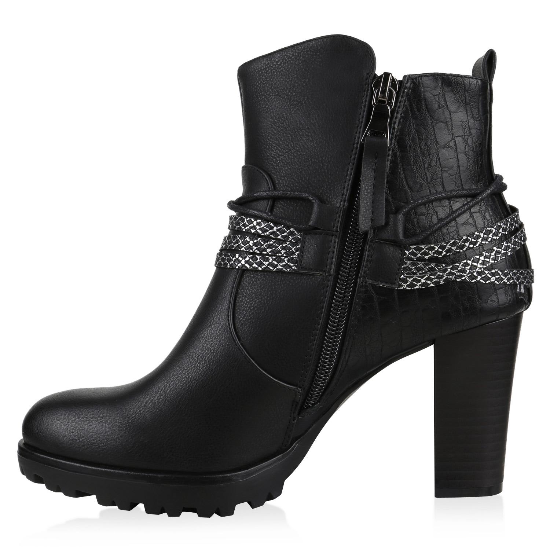 Details Schuhe Zu Gefütterte Warm Ankle Nieten Prints Boots Damen Stiefelette Absatz 812559 WH2ED9IY