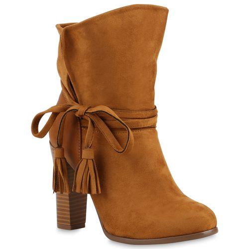 Damen Stiefeletten High Heels - Hellbraun