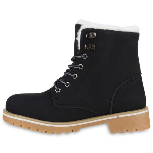 Damen Stiefeletten Worker Boots - Schwarz