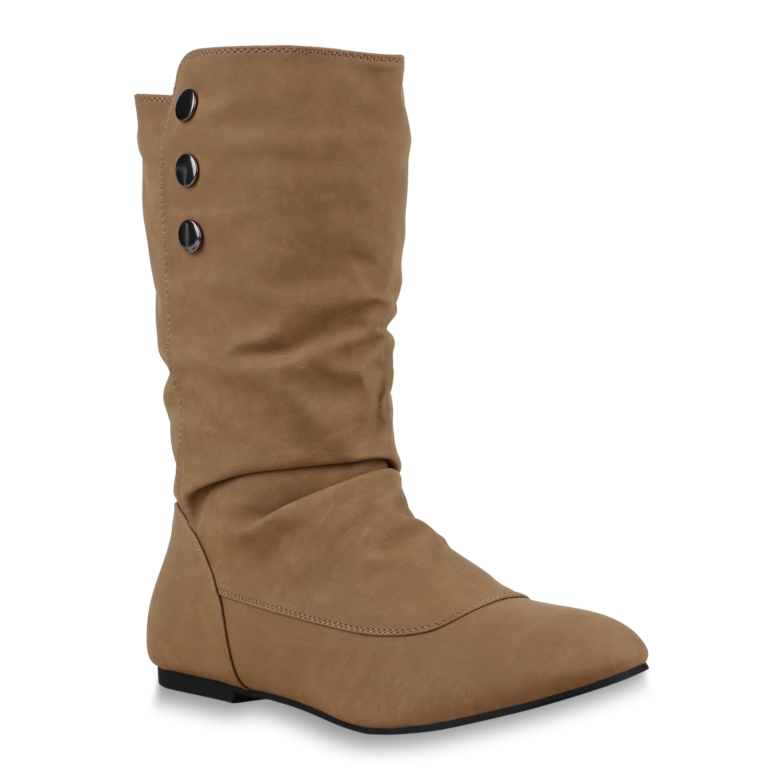Damen Stiefel Schlupfstiefel - Khaki