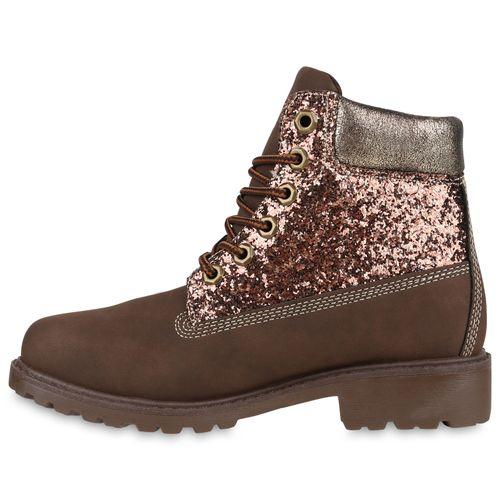 Damen Stiefeletten Worker Boots - Dunkelbraun