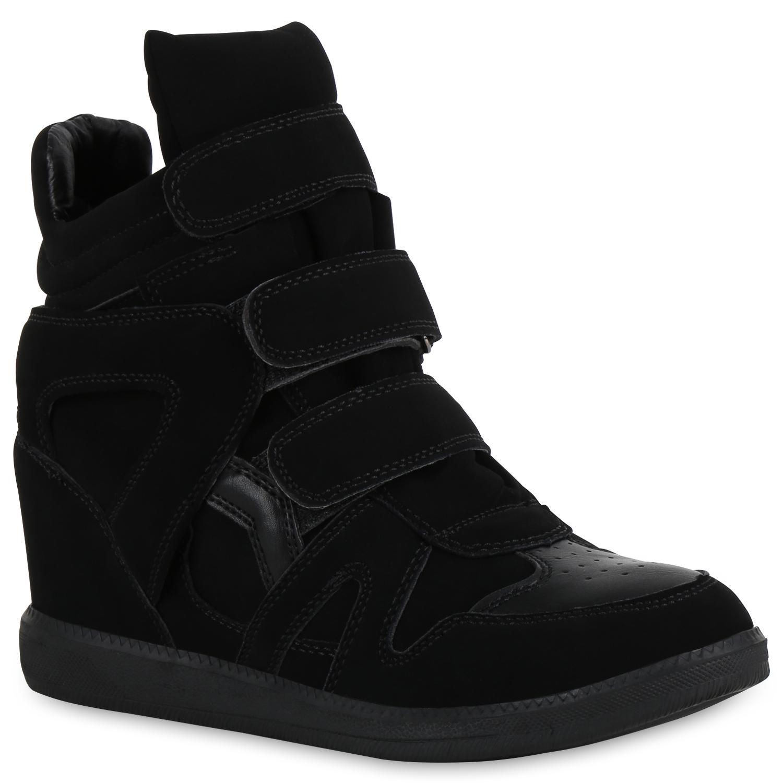 Damen Sneaker Wedges - Schwarz