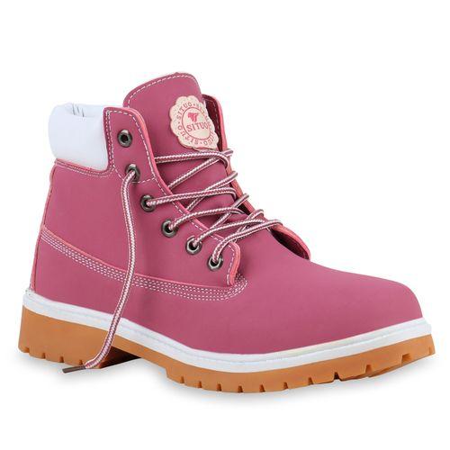 Damen Stiefeletten Worker Boots - Pink