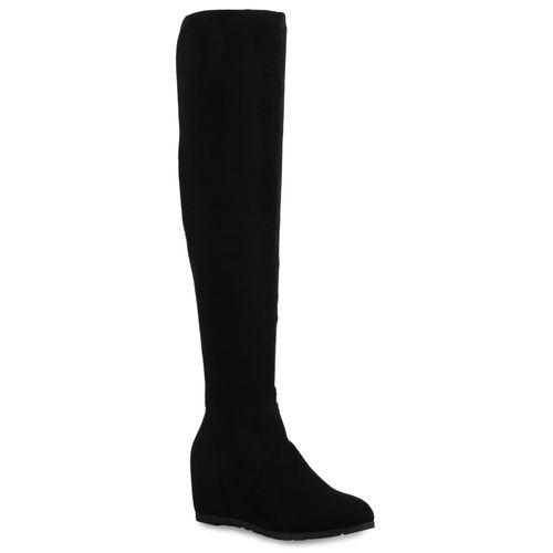 Damen Stiefel Keilstiefel - Schwarz