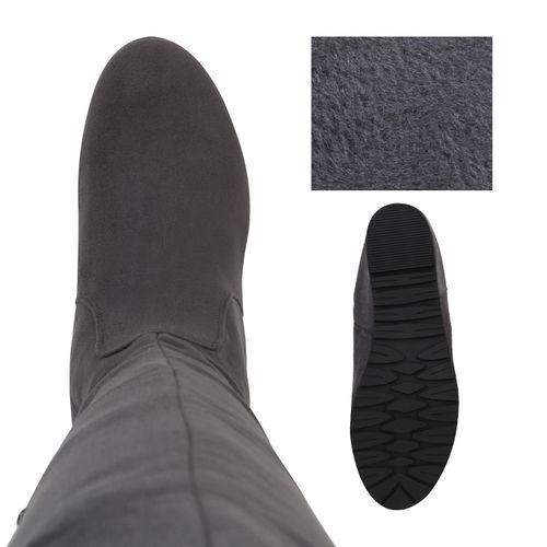 Damen Stiefel Keilstiefel - Grau