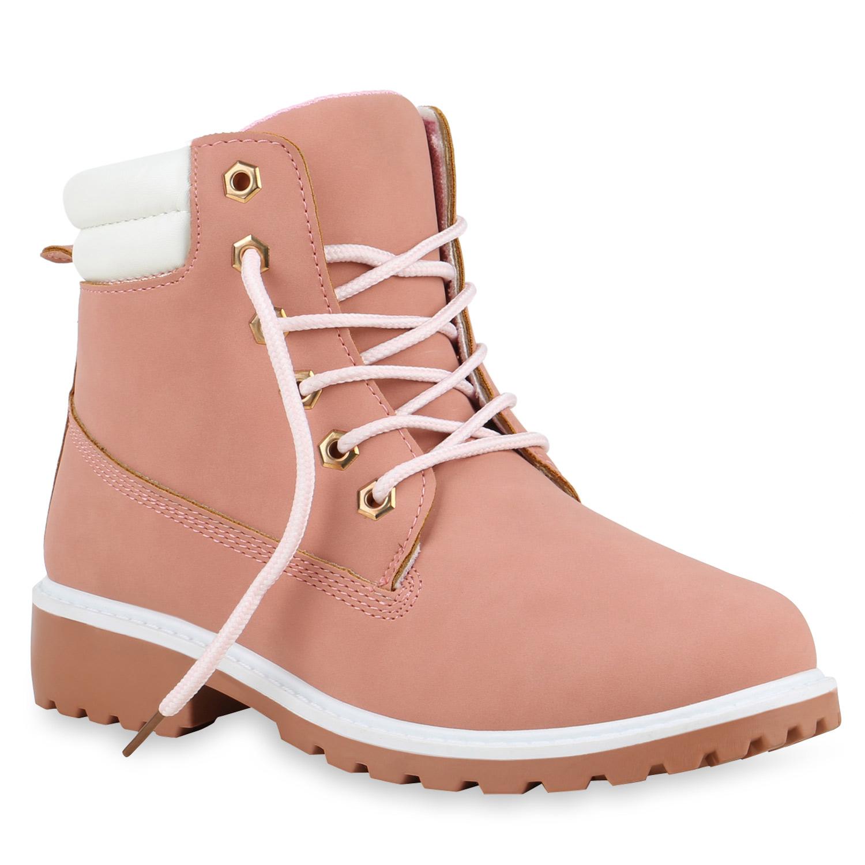 Damen Stiefeletten Worker Boots - Rosa