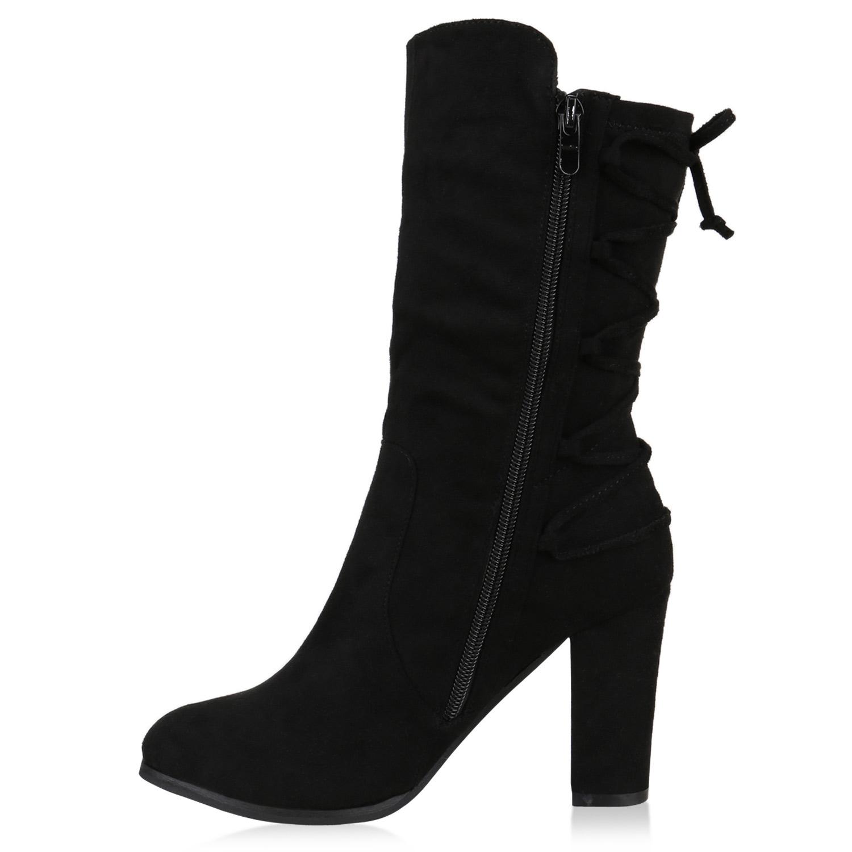 Klassische Stiefeletten Damen Schleifen Stiefel Wildleder-Optik 813119 Schuhe