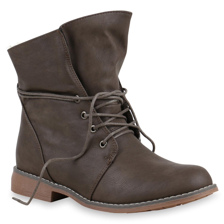 Stiefel - Damen Stiefeletten Schnürstiefeletten Taupe › stiefelparadies.de  - Onlineshop Stiefelparadies