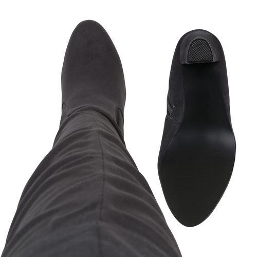 Damen Stiefel Overknees - Grau