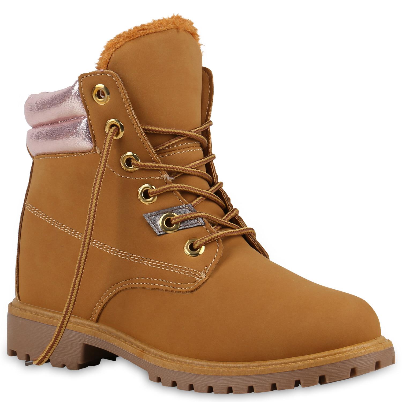 Damen Stiefeletten Worker Boots - Hellbraun Rosa