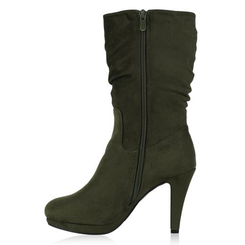 Damen Stiefel High Heels - Dunkelgrün
