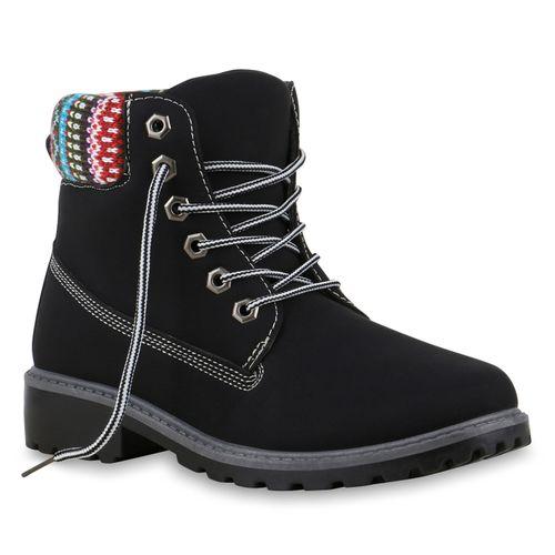 Damen Stiefeletten Worker Boots - Schwarz Muster