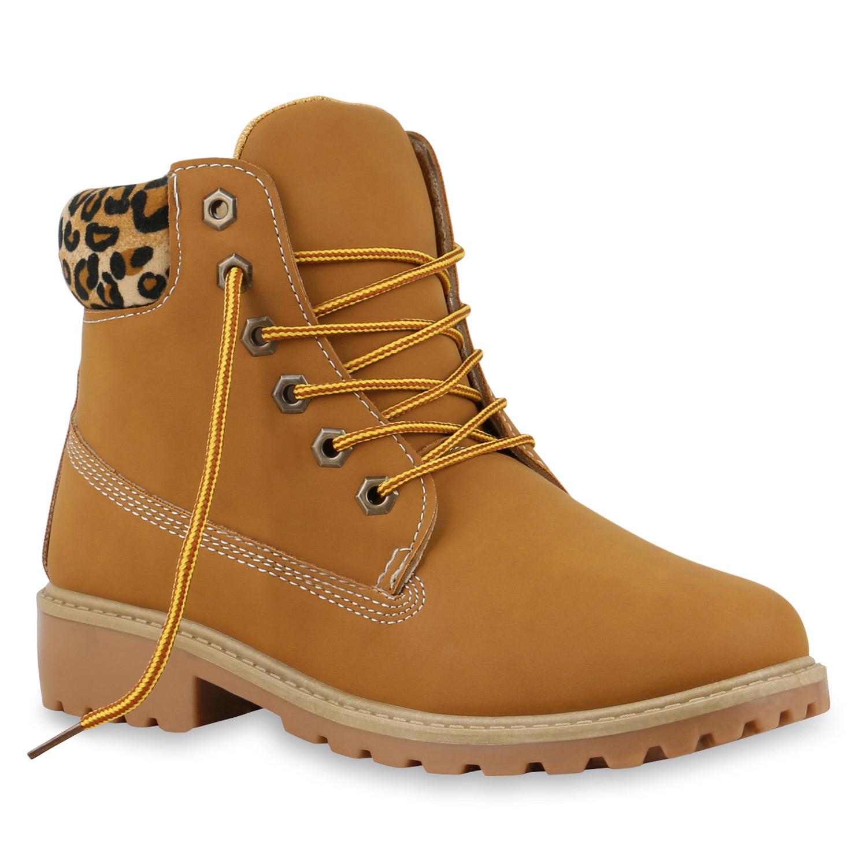 Damen Stiefeletten Worker Boots - Hellbraun Leopard