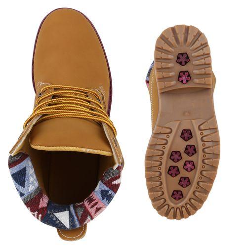 Damen Stiefeletten Worker Boots - Hellbraun Dunkelrot Muster