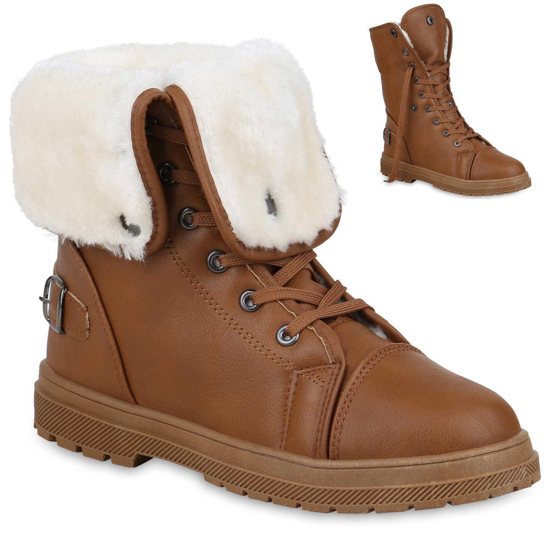 Stiefel - Damen Stiefeletten Worker Boots Braun › stiefelparadies.de  - Onlineshop Stiefelparadies