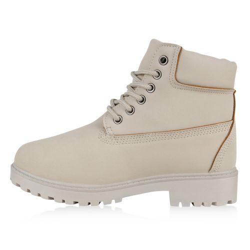 Damen Damen Stiefeletten Stiefeletten Boots Worker Worker Creme E86qwx0qC