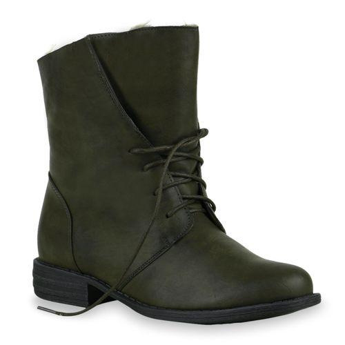 Damen Stiefeletten Worker Boots - Dunkelgrün