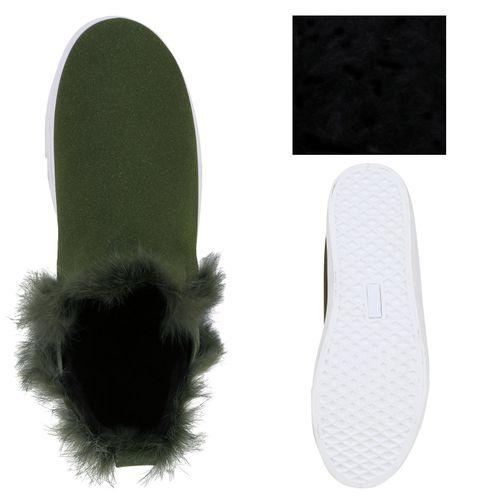 Damen Sneaker Slip Ons - Dunkelgrün