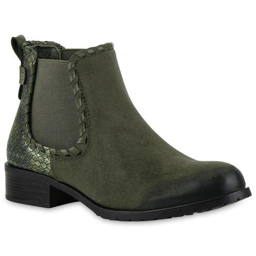 Damen Stiefeletten Chelsea Boots - Dunkelgrün