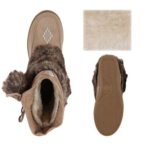 Damen Stiefeletten Winter Boots - Khaki