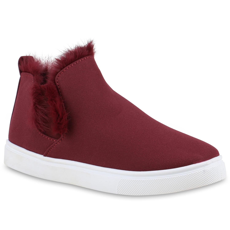 Damen Sneaker Slip Ons - Dunkelrot