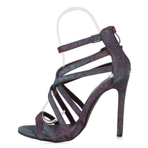Damen Sandaletten Riemchensandaletten - Mehrfarbig