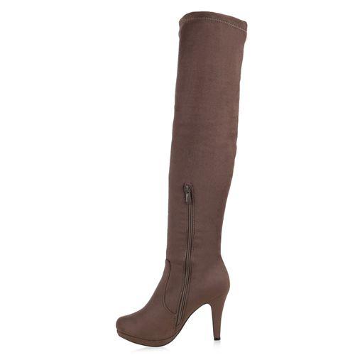 Damen Stiefel Overknees - Khaki