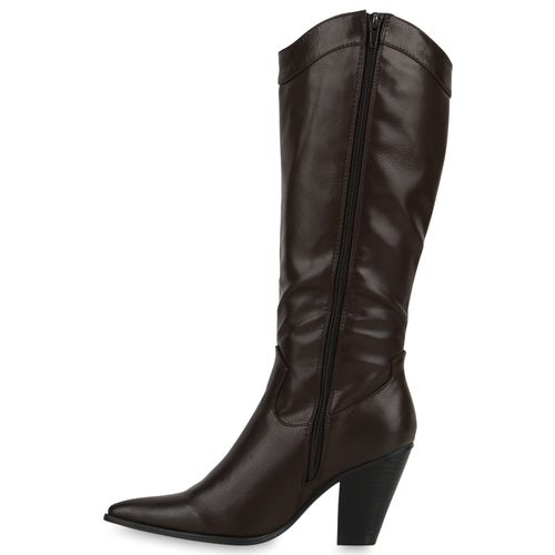 Damen Stiefel Cowboystiefel - Dunkelbraun